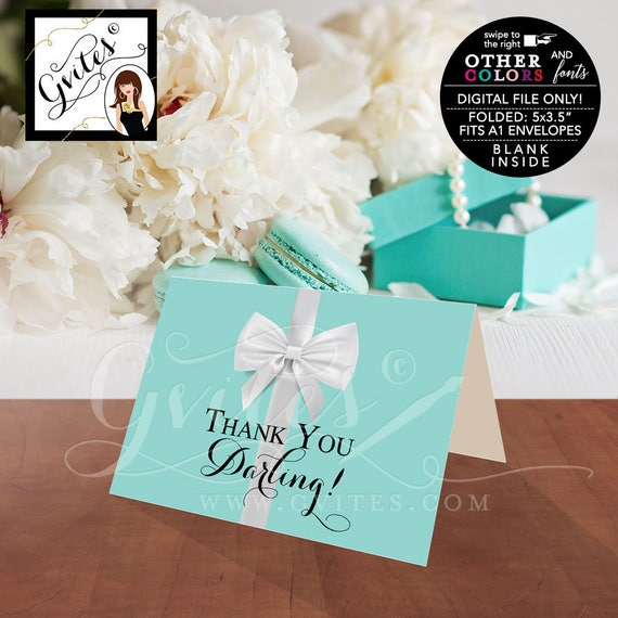 "Thank You Darling Breakfast at blue theme bridal shower/ baby birthday sweet 16. Digital file only.  5x3.5"" 2 Per/ Sheet"
