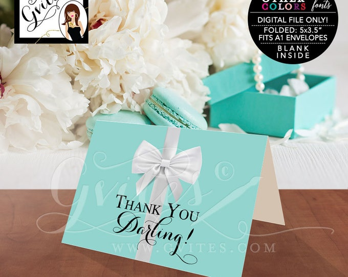 "Thank You Darling Breakfast at blue theme bridal shower, baby birthday sweet 16. Digital file only.  5x3.5"" 2 Per/Sheet"