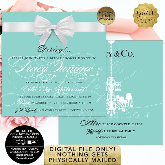 Breakfast Bridal Shower Printable Invitation   Turquoise Blue Elegant Square 5x5