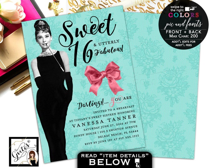 Breakfast at Sweet 16 BIRTHDAY Invitation, Audrey Hepburn birthday invite PRINTABLE 5x7 double sided, Digital File Only!