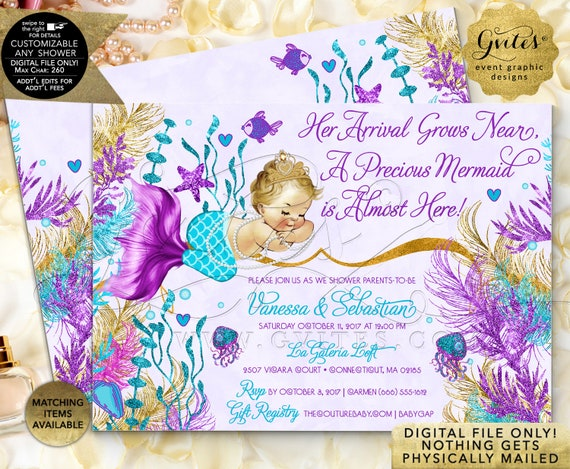 Mermaid Baby Shower Invitation Turquoise Purple Lavender Gold  | JPG + PDF by Gvites