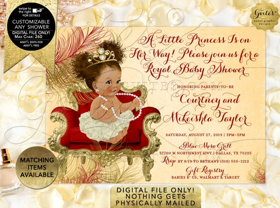 Red Gold Ivory Princess Baby Shower African American Baby | Digital File Only! JPG + PDF Format | Design: TGCHS-110 By Gvites