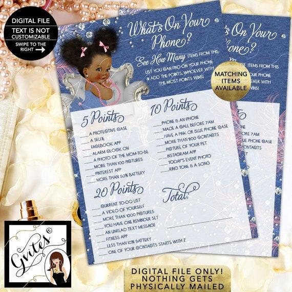 Denim & Diamonds Pink blue silver, African American, Afro Puffs Digital, INSTANT DOWNLOAD. 5x7/2 Per Sheet Design: DDRBC-101