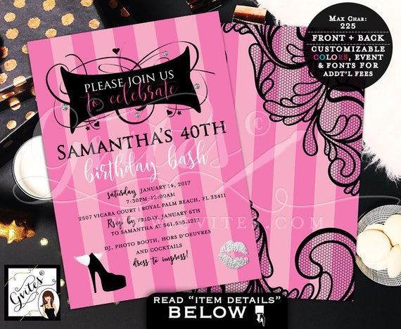 40th Birthday Invitations Printable Pink & Black Silver / Victoria Secret Pink Party Invite