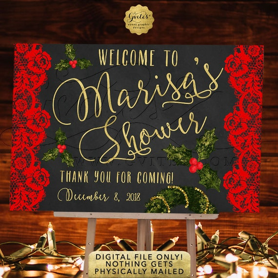Red Black and Gold Holiday Decoration Signs. Welcome Bridal Shower Printable Poster Table or Entrance Backdrop Decoration.
