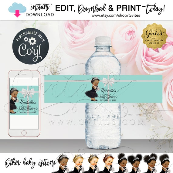 Baby Shower Water Bottle Labels | Breakfast at Blue Themed. Editable Template. INSTANT DOWNLOAD