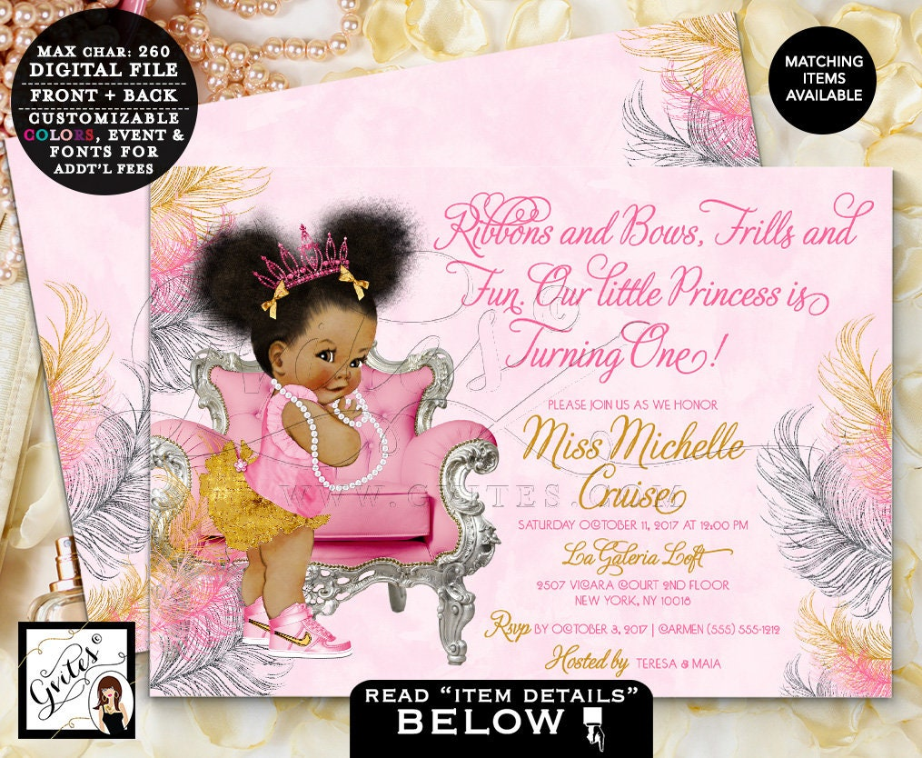pink silver and gold first birthday invitation afro puffs princess