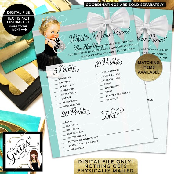 """Whats in your purse baby shower game. Printable cards. 5x7""""/2 Per Sheet {INSTANT DOWNLOAD/Baby: Light Blonde}"""