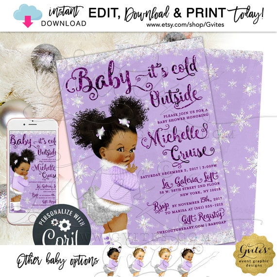 Baby it's Cold Outside Invitation Baby Shower Winter Wonderland/ African American Afro Puffs Girl Lavender White/Vintage Babies of Color