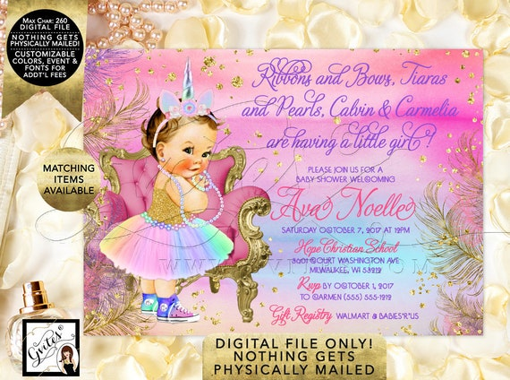 "Princess Unicorn Baby Shower Vintage Girl. Pink Purple Gold Turquoise Rainbow Invites. 7x5"" Digital File Only!"