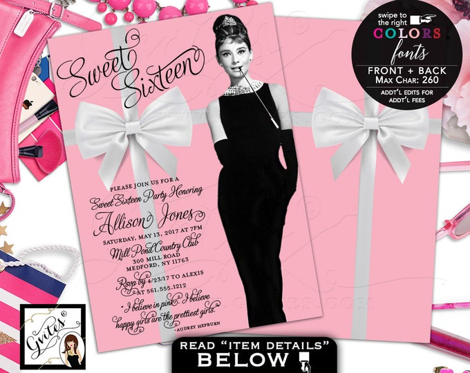 Sweet 16 Breakfast at invitation, Quinceanera invites, mis quince, Audrey invitations 5x7 double sided. Digital File Only!