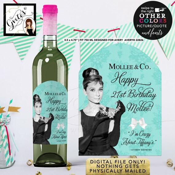 Happy Birthday Wine Labels Audrey Hepburn. {Designed For Avery® 22826}