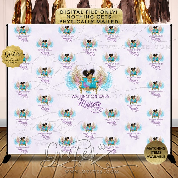 Purple Turquoise Step Repeat Baby Shower Banner Backdrop Photo Booth Lavender Princess Party {TIACH-105}
