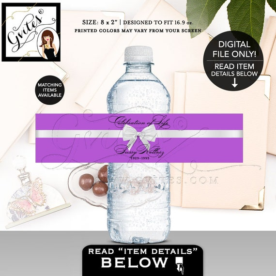 Celebration of Life Memorial Water Bottle Labels / In loving Memory / PRINTABLE Digital File / Purple & White Bow