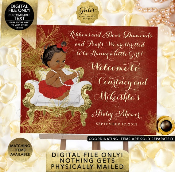 Welcome Sign Red & Gold Baby Shower Decorations | Diamonds Pearls Themed | African American Princess | Digital Printable PDF + JPG