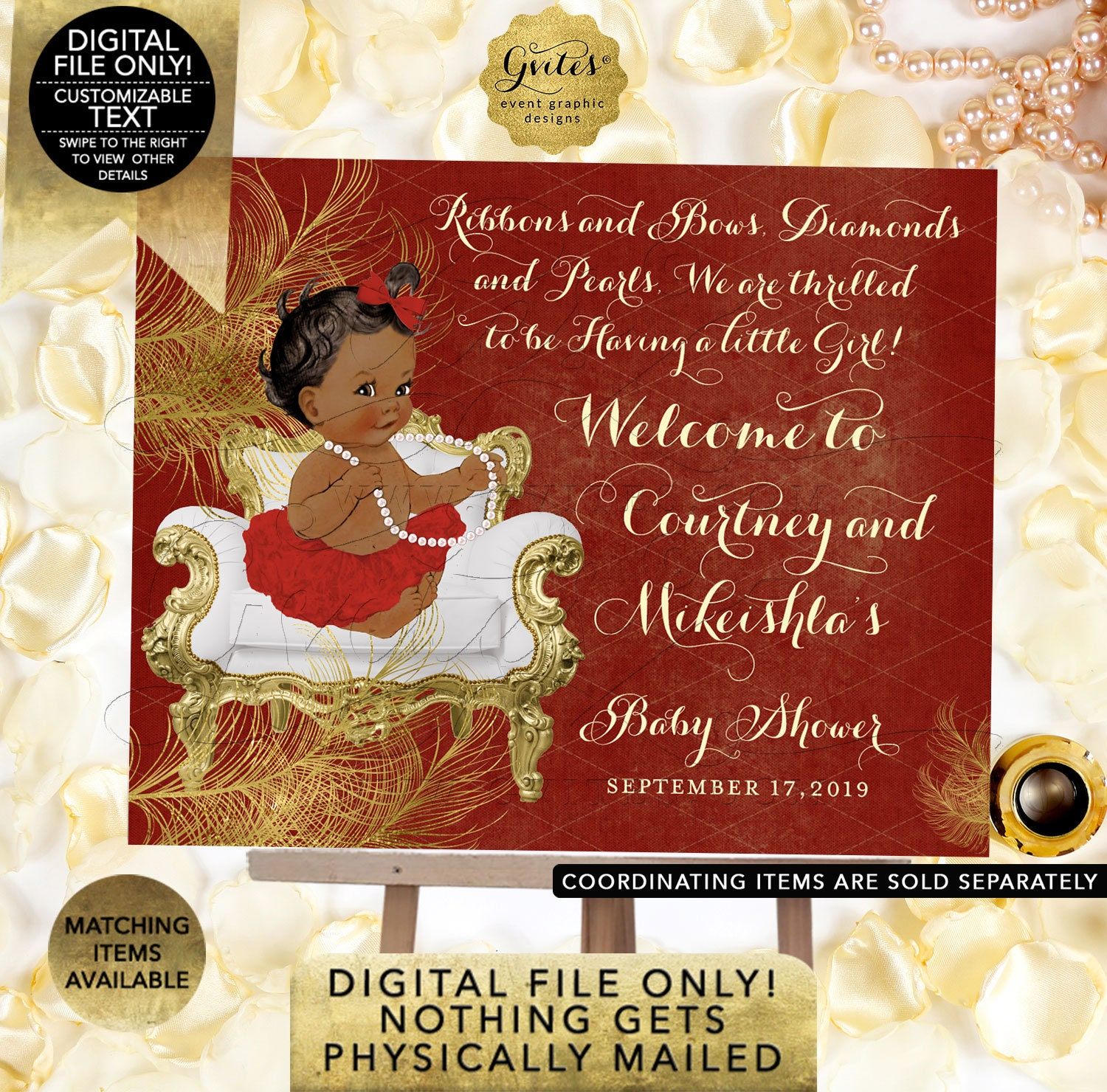 Welcome Sign Red Gold Baby Shower Decorations Diamonds