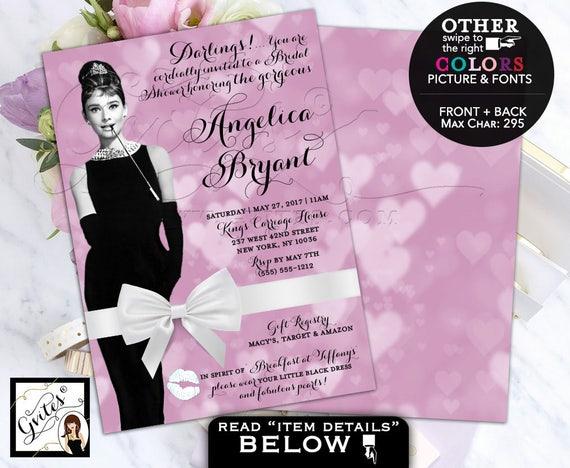Bridal Shower Invitation Audrey Hepburn wedding breakfast at invites, lavender, purple ad white. Digital File, Double Sided 5x7 Gvites