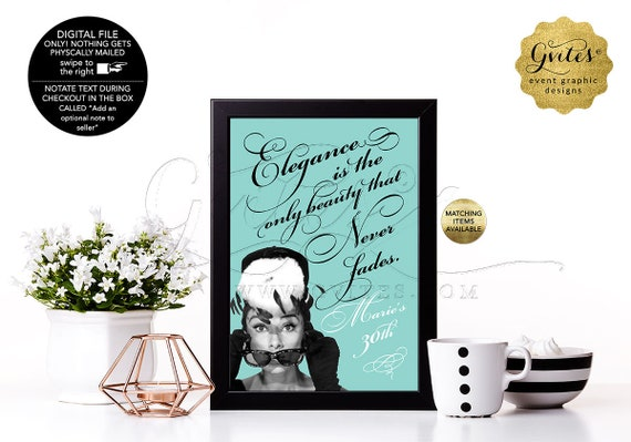 "30th Birthday Decorations, Audrey Hepburn Customizable Quote Signs For Centerpiece, Printable Blue Quotes Decor. {4x6"" or 5x7""}"