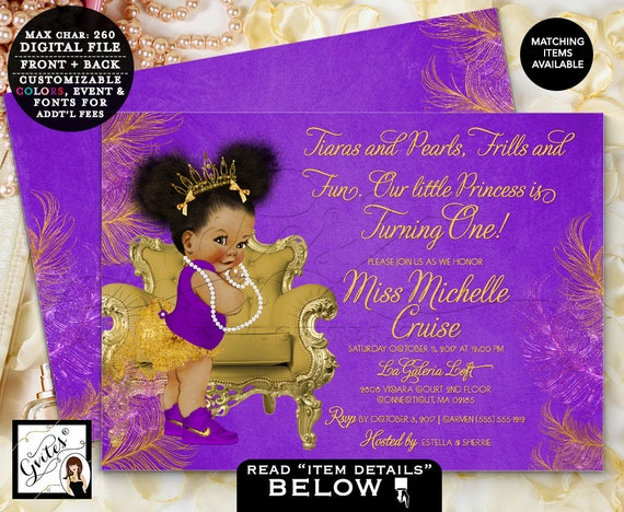 Purple & Gold First Birthday Invitation Princess African American Afro Puffs Tiara | 7x5 Digital JPG + PDF Design: TIACH-116 By Gvites