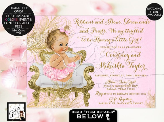 Pink & Gold Baby shower invitations | Ribbons Bows/ Diamonds Pearls | Vintage Invites {White/ Gold Feathers}
