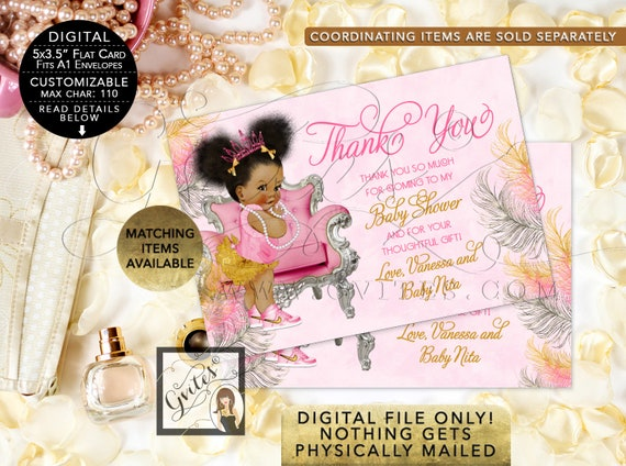 "Pink and Gold Baby Shower Thank You Cards/ African American Baby/ Customizable {5x3.5""} {Pink/ Silver/ Gold Feathers}"