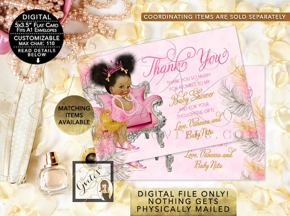"Pink and Gold Baby Shower Thank You Cards / African American Baby / Customizable {5x3.5""} {Pink/Silver/Gold Feathers}"