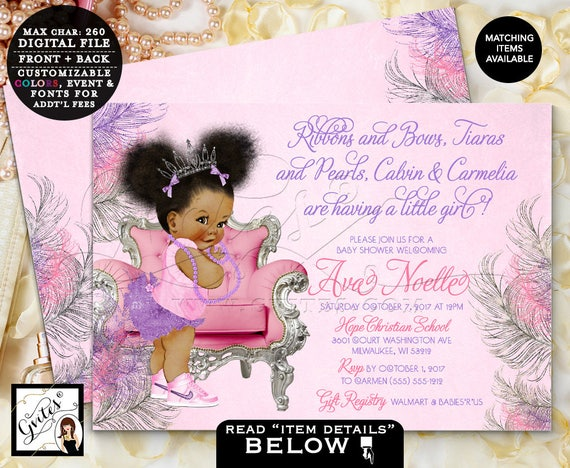 """Pink and purple baby shower / African American Princess tiara lavender silver ? Printable 7x5"""" Double Sided. Afro Puffs. Gvites"""