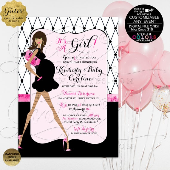 Fashionista Pink Black Baby Shower Invite. It's a Girl! Parisian. African American/Caucasian. Customizable Any EVENT. Other Colors!