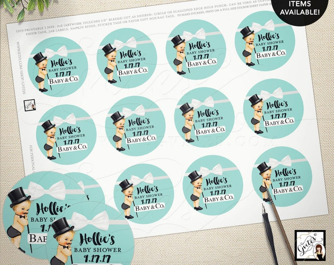 "Blue thank you tags, stickers, labels, little man, baby shower breakfast at and baby and co party favors, gifts, 2x2"" 12/Per Sheet DIGITAL"