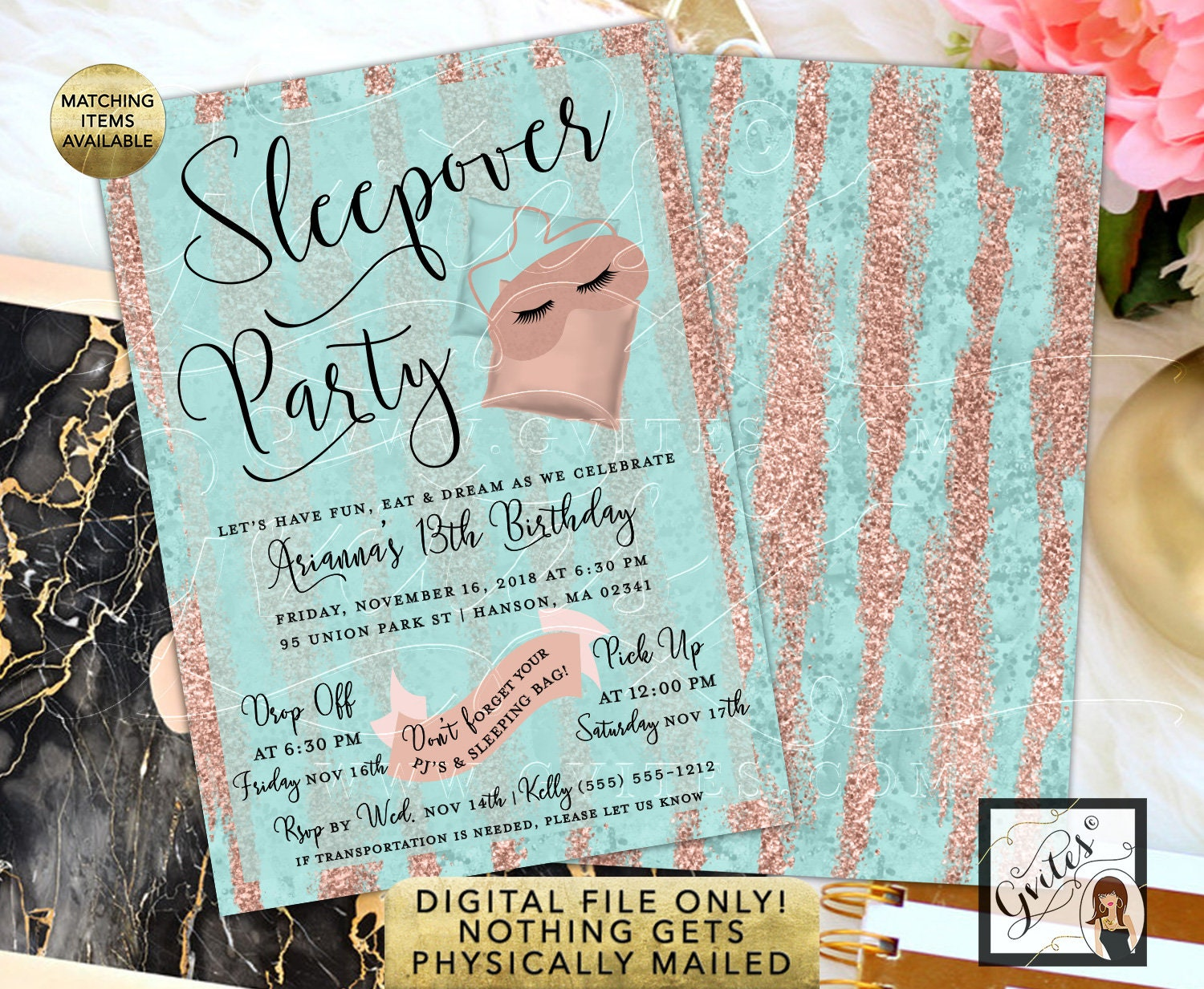 Sleepover Birthday Invitation Rose Gold 13th Party 5x7 Double Sided