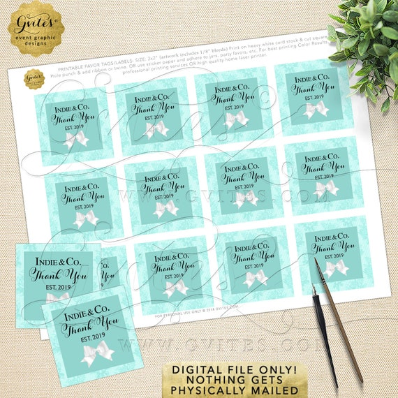 Blue Square Tags for Party Favors | Digital File Only! JPG + PDF 2x2/12 Per Sheet | By Gvites