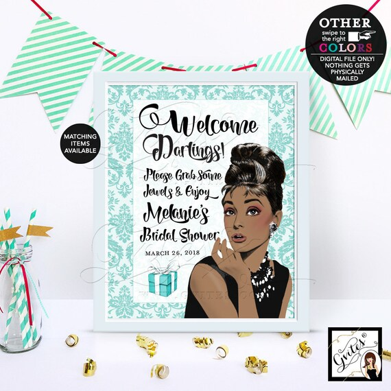 Welcome Sign/ Grab some jewels/ Audrey Hepburn African American Damask Party Decorations/ Entrance Decor Bridal Shower Game Poster