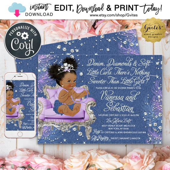 Lavender Silver Denim and Diamonds Baby Shower Princess Printable Invitation. {Edit & Print Today w/Corjl}
