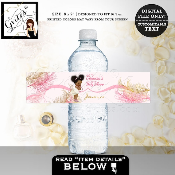 Water bottle labels baby shower/ Ethnic Baby Shower pink gold party stickers Ruffle Diaper Pink Bows/ Digital File JPG + PDF