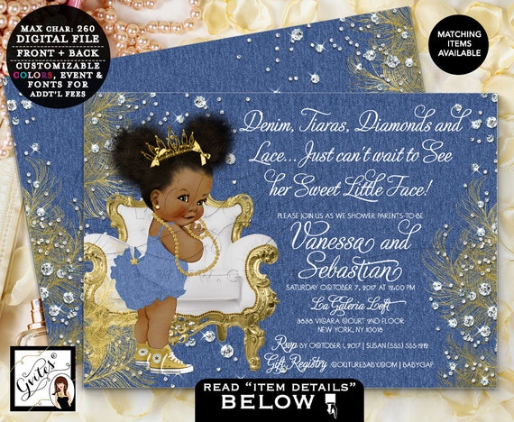 "Denim and Diamonds Invitations/ Denim/ Tutus/ Diamonds and Lace Baby Shower Gold Tiara African American/ Afro Puffs 7x5"" Gvites"