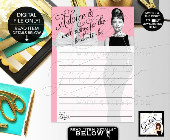 """Wishes for the bride/ advice and well wishes bride to be/ Audrey Hepburn party wish cards digital 5x7"""" 2 Per Sheet"""