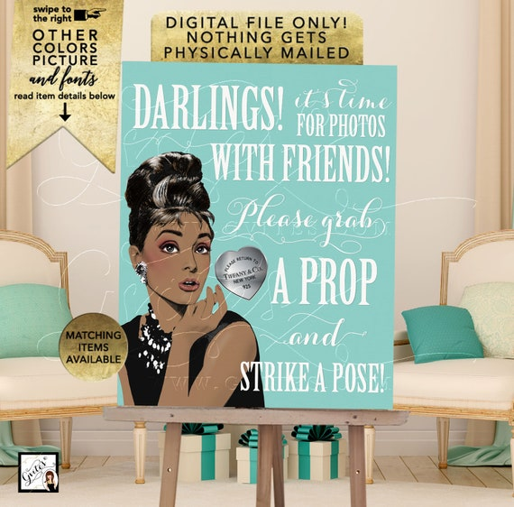 Audrey Hepburn Photo Booth Sign Printable Decorations/ Blue Themed Table Signs | JPG + PDF 8x10""