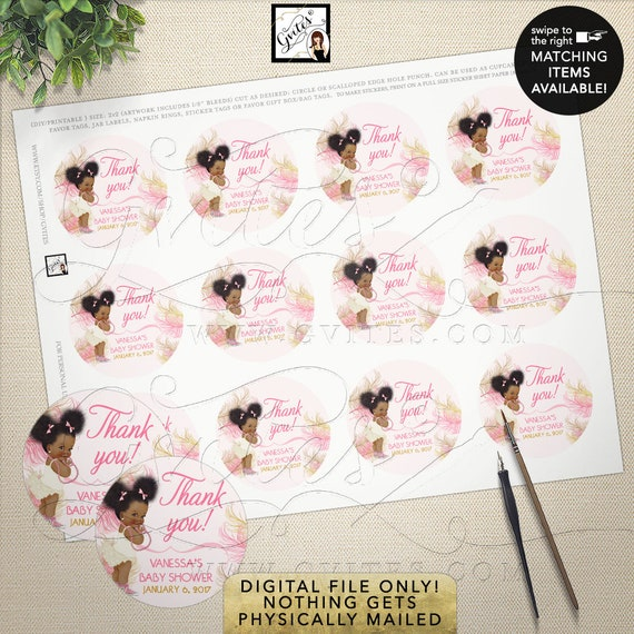 Pink & Gold Round Stickers Baby Shower Labels / African American Ethnic Vintage Baby Girl / Afro Puffs Bun Princess Ballerina DIY Printable