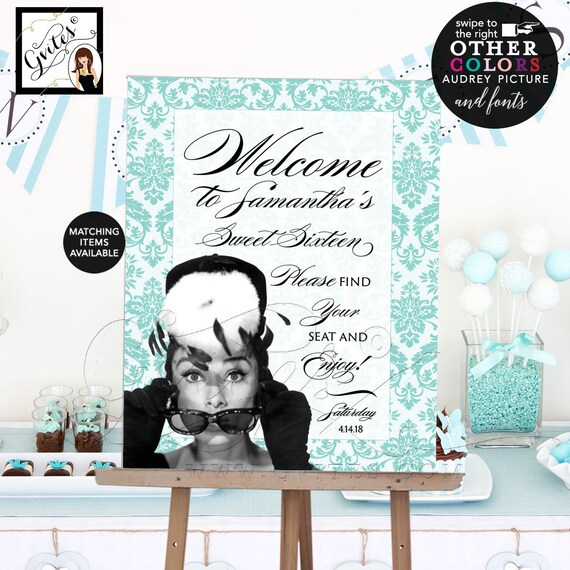 Audrey Hepburn Birthday Party Welcome Signs / Blue & White Ribbon Bow / INSTANT DOWNLOAD / Vintage Sweet 16 Backdrop Sign