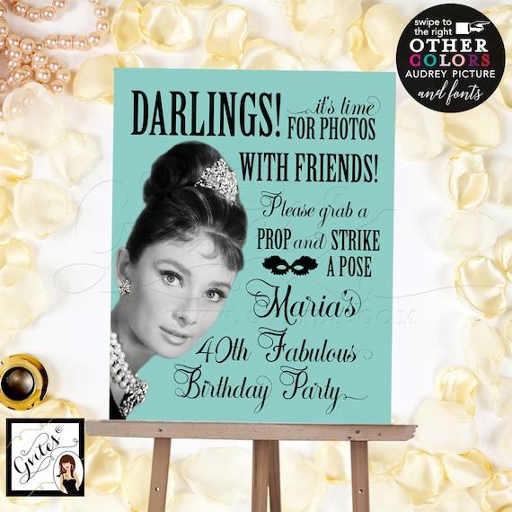 40th Birthday Photo Booth Sign Audrey Hepburn Party | Digital PDF + JPG by Gvites