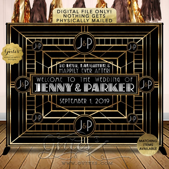 Great Gatsby Wedding Backdrop Step & Repeat Personalized |  Digital File | JPG + PDF | By Gvites