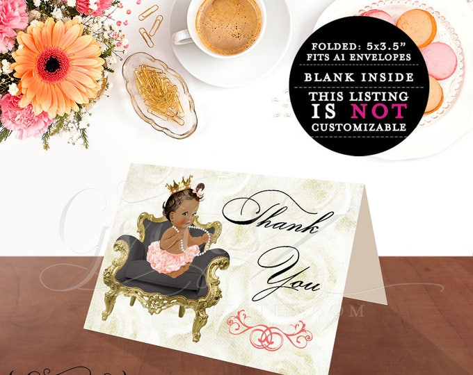 """Coral Beige & Gold Baby Shower Printable Thank You Cards, diamonds and pearls, ivory black charcoal gray. {MED/BRUNETTE} 5x3.5"""" 2 Per/Sheet"""