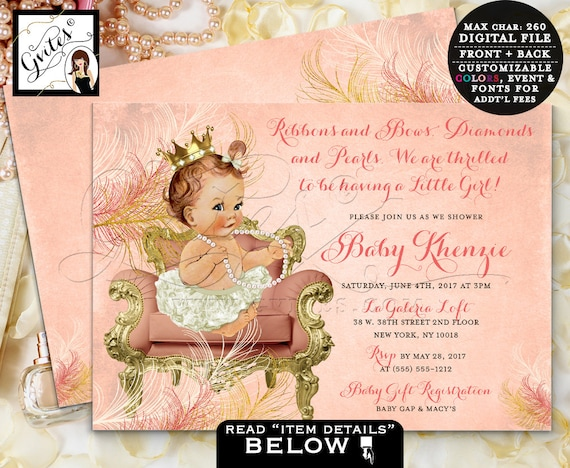 Coral Gold Vintage Baby Shower Invitation/ Little Princess Baby Sitting Crown Pearl Necklace/ 3 Skin Tones/ Pink & Gold