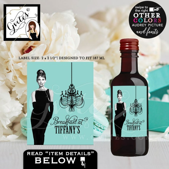 "Audrey Hepburn Party Mini Wine Labels/ Turquoise Blue Black Dress Breakfast at Co/ Red White Wine Label {MINI Wine: 2x2.5"" }"