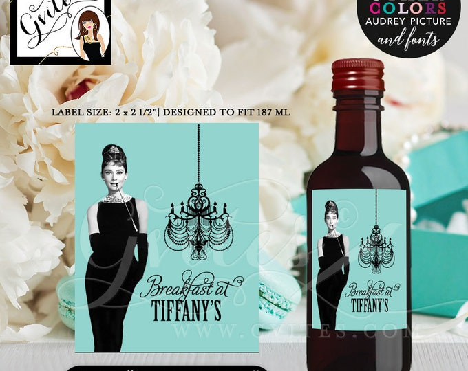"""Personalized Breakfast at Tiffany's wine labels, Audrey Party mini wine label, stickers, favor gifts, digital file. {MINI Wine: 2x2.5"""" }"""