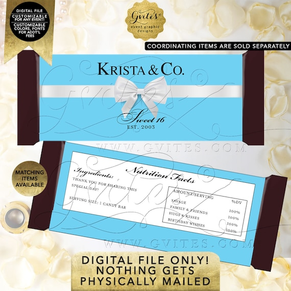 "Sweet Sixteen Candy Bar Wrapper | Digital PDF + JPG 2/Per Sheet 5.25x5.75"" {Satin Ribbon} By Gvites"