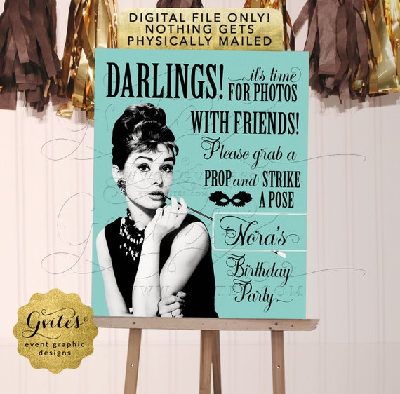 Audrey Hepburn Birthday Personalized Photo Booth Sign | Digital PDF + JPG by Gvites