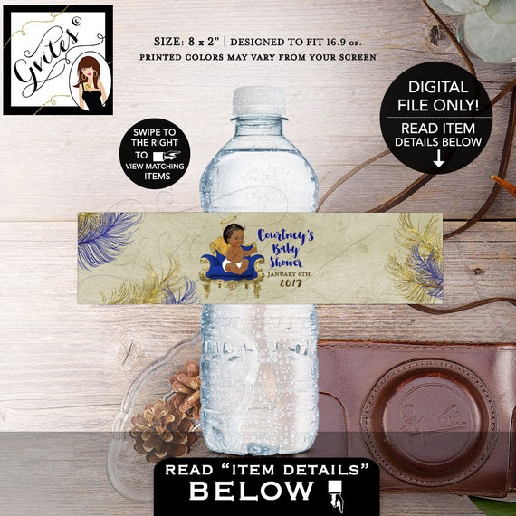 """Baby Shower Water Labels Angel BOY, Beige and Blue, Navy, African American Vintage Shower Decorations Favors, Stickers {8x2""""/5 Per Sheet}"""