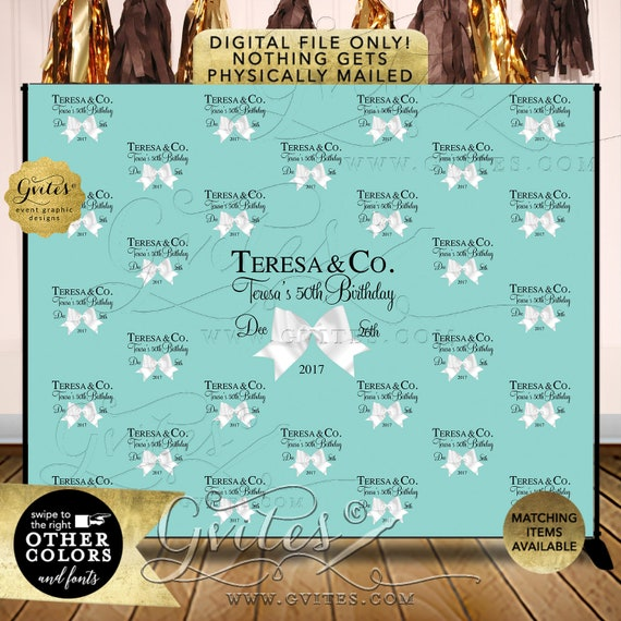 Step and Repeat Backdrops, breakfast at 50th birthday turquoise blue white bow, name and co, custom backdrops, Shown in Size: 10ft x 8ft
