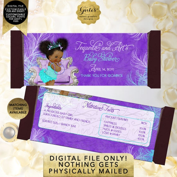"Candy Bar Wrapper | Purple Lavender Aqua Turquoise | Tiara Princess Baby Shower | Afro Puffs African American {2 Per/Sheet 5.25 x 5.75""}"